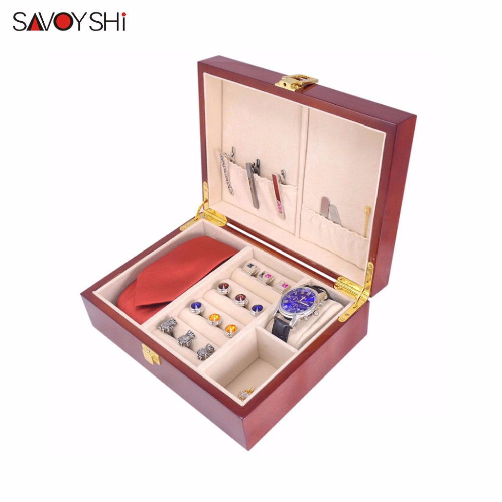 SAVOYSHI Luxury Wooden Box Case for Cufflinks Tie clips Ring Watch Gift Box High Quality Painted Wood Jewelry Storage Brand Box