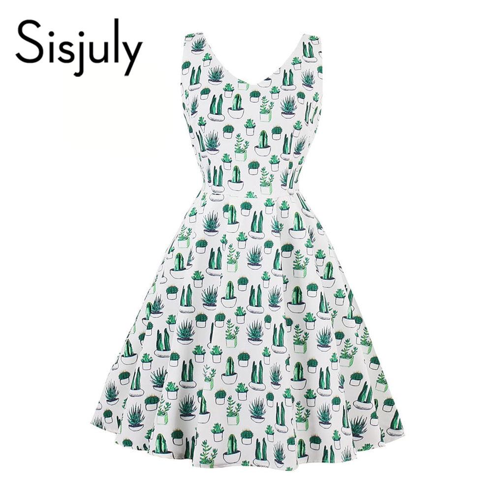 Sisjuly 2018 vintage dress summer print v neck party dresses women ...