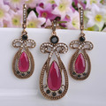 Vintage Women Jewelry Sets Red Acrylic Necklace Earrings Set Turkish Water Drop Party Pendants Colar Princess Hooks Max Brinco