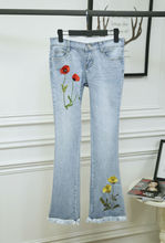New 2015 summer fashion women's european style flower embroidery denim  flare pants slim hip casual jeans D6040