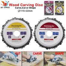 Hoja de sierra Circular de 115x22mm, cadena de motosierra, disco de tallado de madera, amoladoras angulares para carpintería, Universal para discos de corte de madera de 4,5 pulgadas