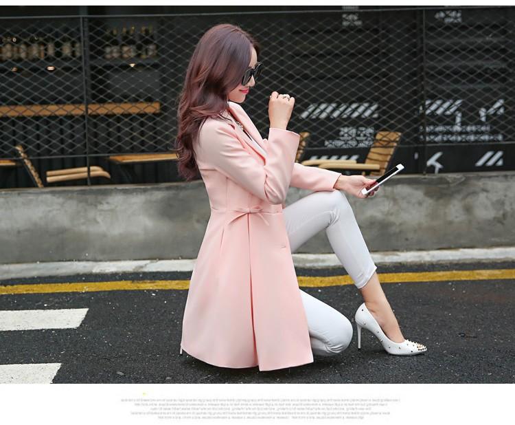 Super Pretty  Elegant Trench Coat Women Windbreaker Ladies Peplum Jacket Pink Grey Green Manteau Femme Silm Long Blazers bbbbbb (2)