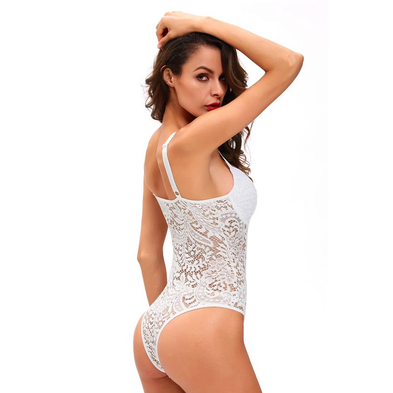 ADEWEL Sexy Women Spaghetti Strap Lace Bodysuit See Through Skinny Body Jumpsuit Ladies Romper Combinaison Shorts Playsuits (10)