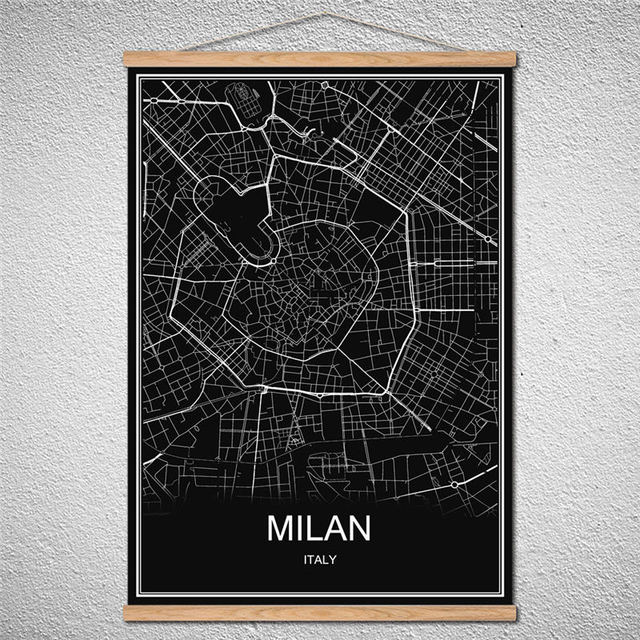 Milan world city map poster oil painting canvas abstract print milan world city map poster oil painting canvas abstract print picture cafe bar decor can customized gumiabroncs Choice Image