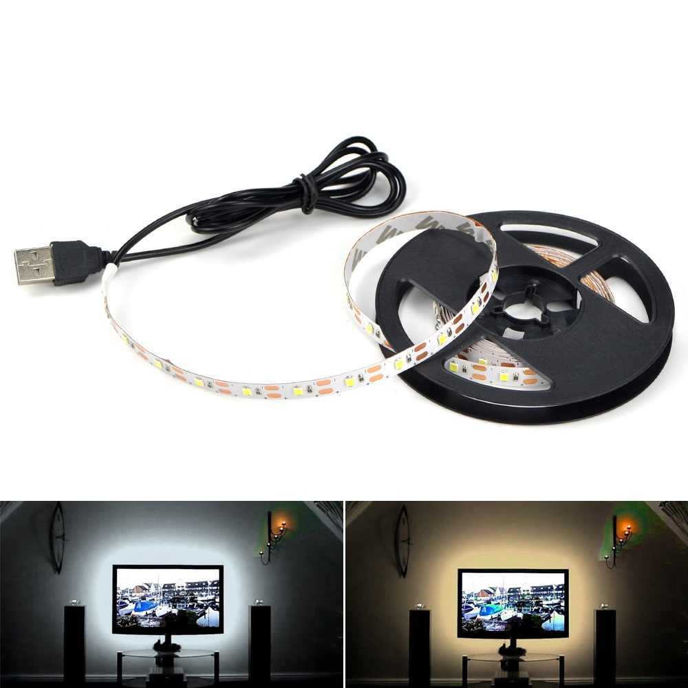 Dapur Lampu LED 1 M-5 M Lampu LED RGB dengan 24 Kunci Terpencil DC5V Fleksibel Lampu LED Tape pita TV Backlight Meja PC Lampu Dekorasi