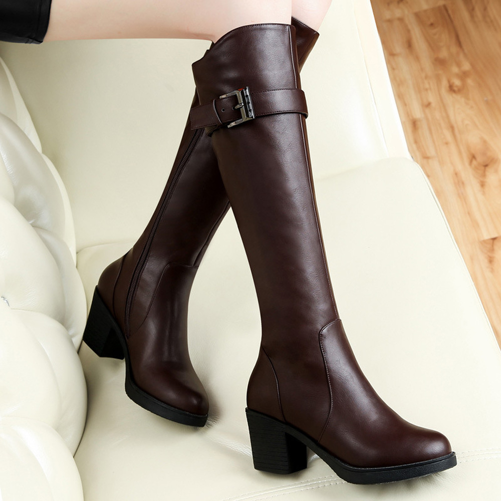 2017 new Centennial in autumn and winter boots with coarse British high tube BIKER BOOTS high-heeled shoes women boot ...