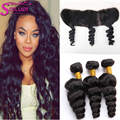 7A Ear To Ear 13*4 Lace Frontal Closure With Peruvian Loose Wave With Lace Frontal Closure Bleached Knots And Bundle Deals
