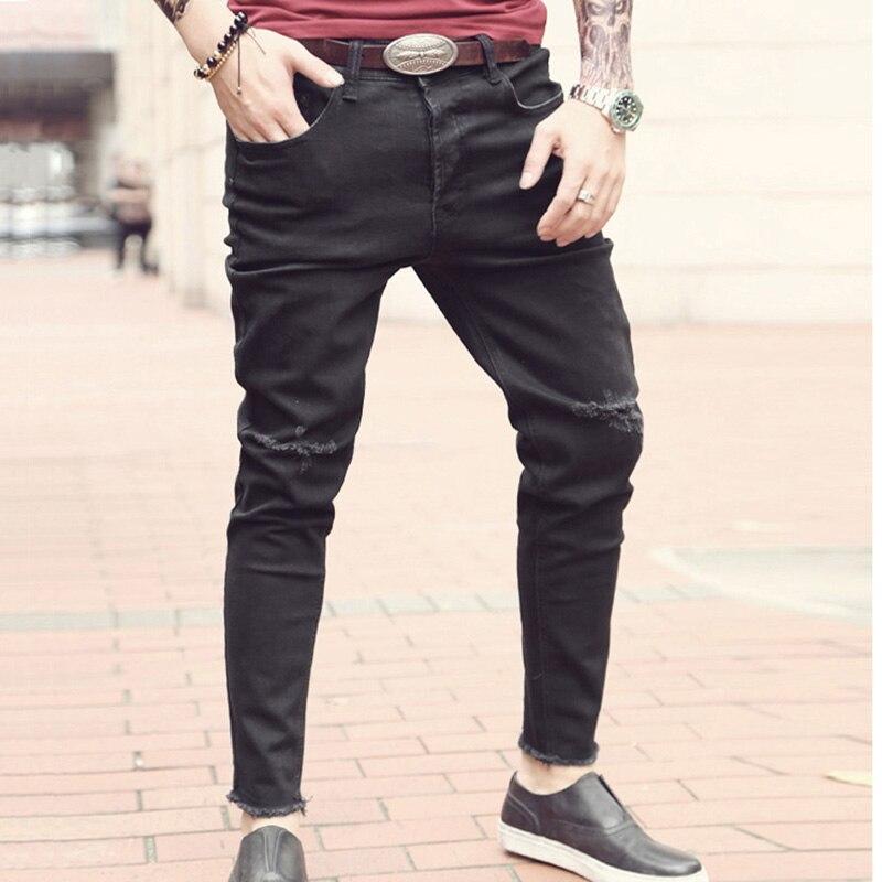 новые мужские джинсы рваные штаны корейский