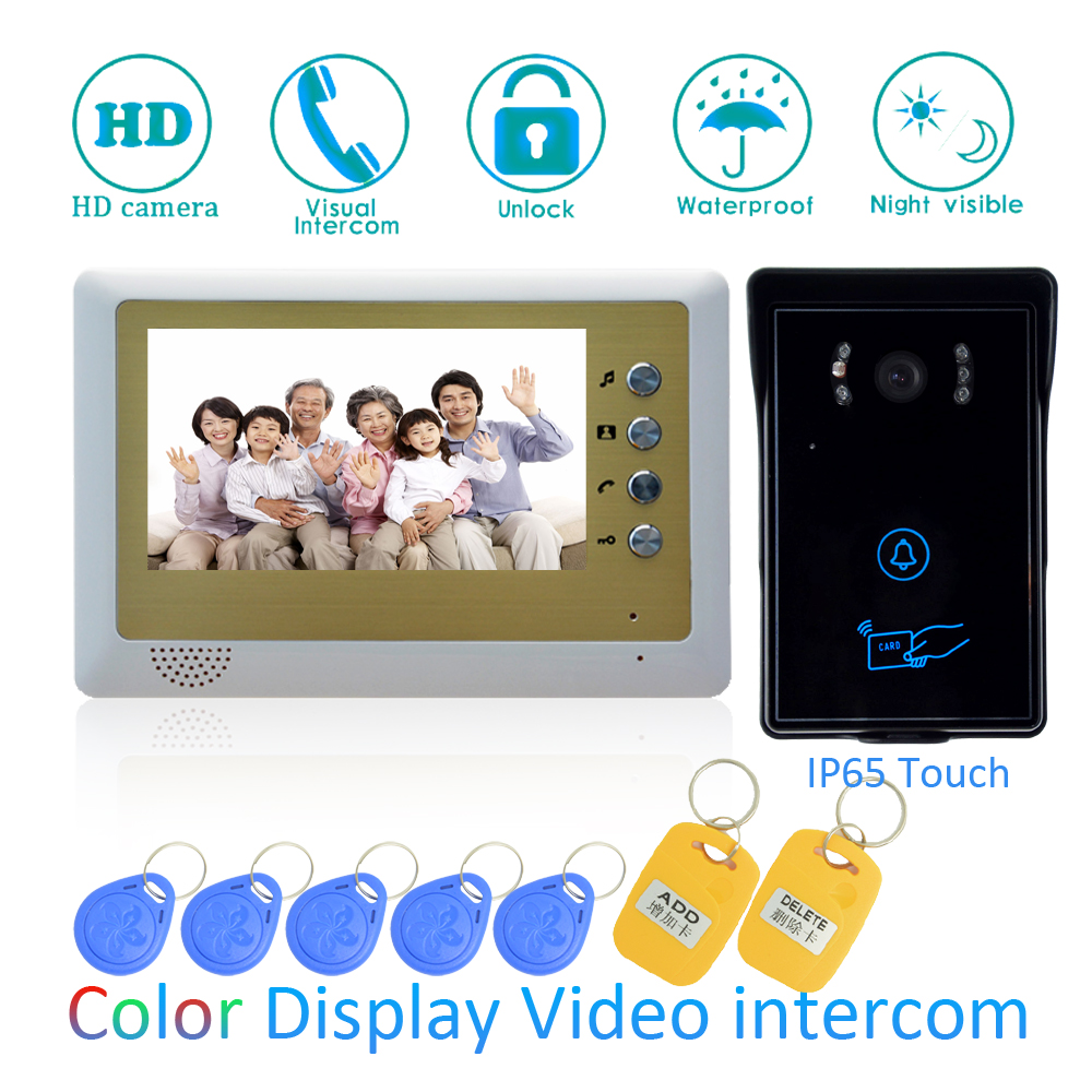 (1 SET) Video Intercom Home Garden Improvement Door Phone 7'' Monitor With RFID Card Unlock Release Function Door Bell System 1 set video intercom improvement tool door phone 7 touch monitor with rfid card unlock release function door bell system