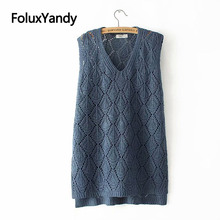 Hollow Out Vest V-neck Pullovers Women Casual Plus Size Knitted Vests KKFY3203