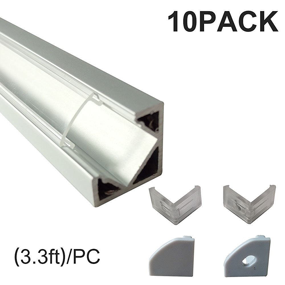 V Type aluminium LED coin profilé avec Angle Vertical Couvercle Transparent Embouts Clips De Fixation pour Armoire Cuisine LED Bande