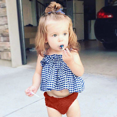 2017 Summer Fashion Baby Girl Clothes Set Ruffled Tutu Skirted Plaid Crop Tops +Baby Bloomers Shorts 2PCS Outfit Clothing 0-5Y jew gangster