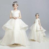 Для Девочек Свадебные платья принцессы для возраста 2 для детей 12 лет крестильное платьице для малышей бальное платье Кружева аппликация Ко