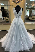 Beautiful Gray Tulle Evening Dress A Line V Neck Floor Length Backless Fitted Prom Dresses From China Fairy Evening Gowns 2019