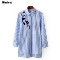 Dioufond Floral Embroidery Women Shirts Blouses Striped Casual Long Sleeve Blue Shirts Turn Down Collar Spring