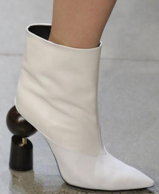 Hot Élégant Toutes Sortes De Couleur Véritable Cheville En Cuir Slip-On Chaussures Bout Pointu Femmes Chaussures de Style Étrange grande Taille Femmes de Boot