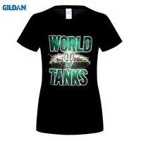 Mundo Do Tanque de Roupas GILDAN Marca T Shirt das mulheres Preto hd imprimir Algodão de Manga Curta Camiseta Hip Hop Casual O Pescoço T-Shirt topos