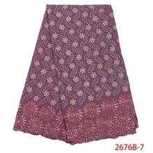 Tela de encaje seco africano, gasa suiza con piedras, encaje de algodón suizo, telas de encaje de cebolla 2019 de alta calidad para NA2676B 1 de boda