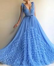 Smileven Sky Blue evening dress V Neck 2019 saudi arabia Prom Dress 3D Flowers Appliqued Evening Party dresses For Women