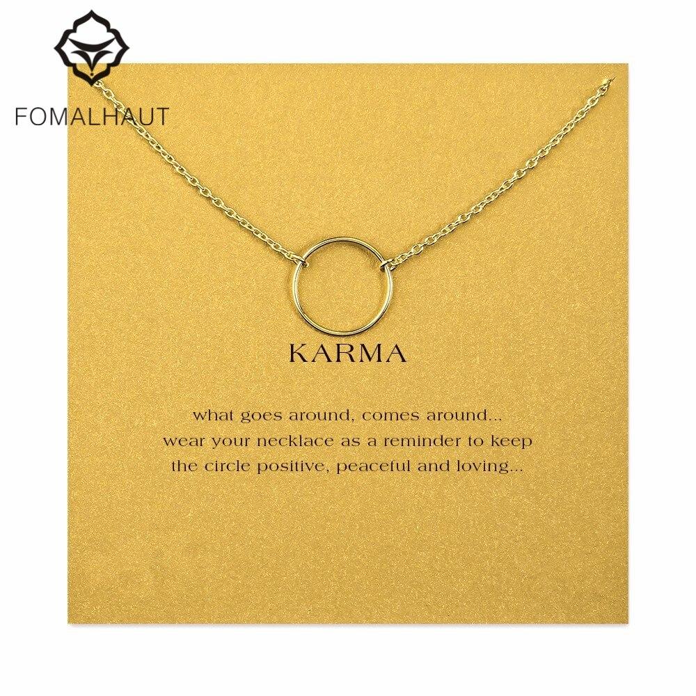 b742aec2d094 Grand lisse karma collier alliage Pendentif collier Clavicule Chaîne De  Mode Déclaration Collier Femmes FOMALHAUT Bijoux