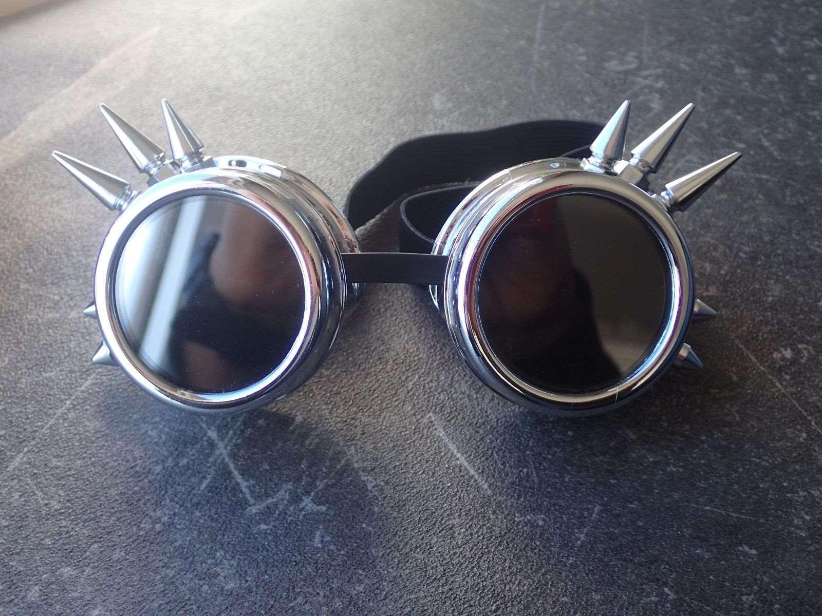 Новая мода Серебряный стимпанк очки Spikey Burning Man костюм Косплэй готический панк Защитные очки ...