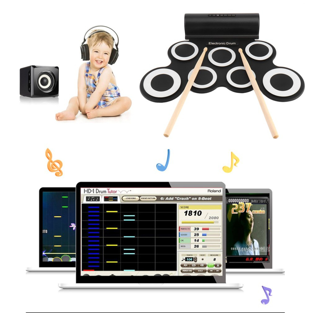 все цены на Electronic Roll Drum Pad Built-In Speakers Digital Drum 9 Silicon Pad With Foot Pedals USB Charging Musical Instrument New онлайн