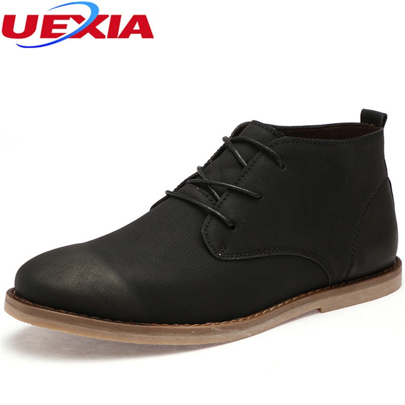 Autum Road Track Chelsea Boots Men Sewing Thread High Top Flats Apricot Men Martin Boots Leather