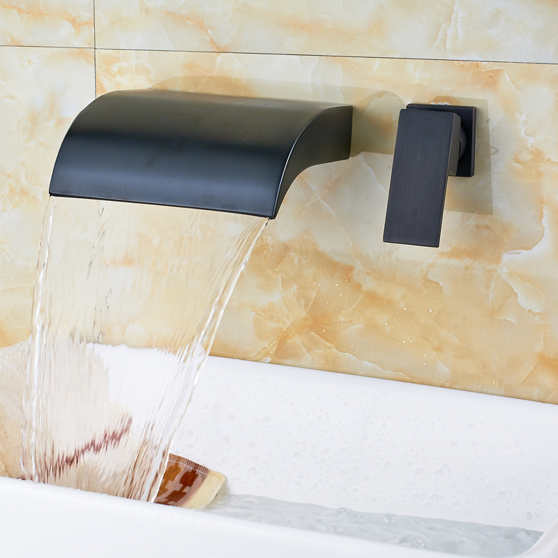 Modern Two Hole Wall Mounted One Handle Waterfall Brass Basin Faucet Oil Rubbed Bronze Bathroom Mixer