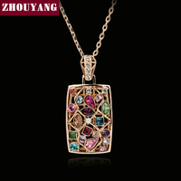 ZYN034 Multicolour Necklace 18K Rose Gold Plated Fashion Jewelry Nickel Free Pendant Austria Crystal SWA Elements