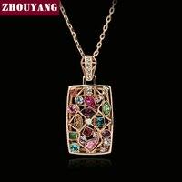Zhouyang top qualität zyn034 mehrfarben halskette rose gold farbe modeschmuck-nickel-freie hängende österreich kristall