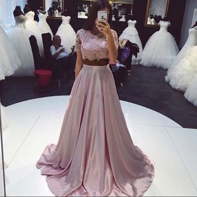 New Fashion Blush Pink Lace Satin Skirt Two Piece Prom Dresses 2016 Short  Sleeves 2 Piece Prom Dresses Ballkleider Customized 0c2a894e4b7a