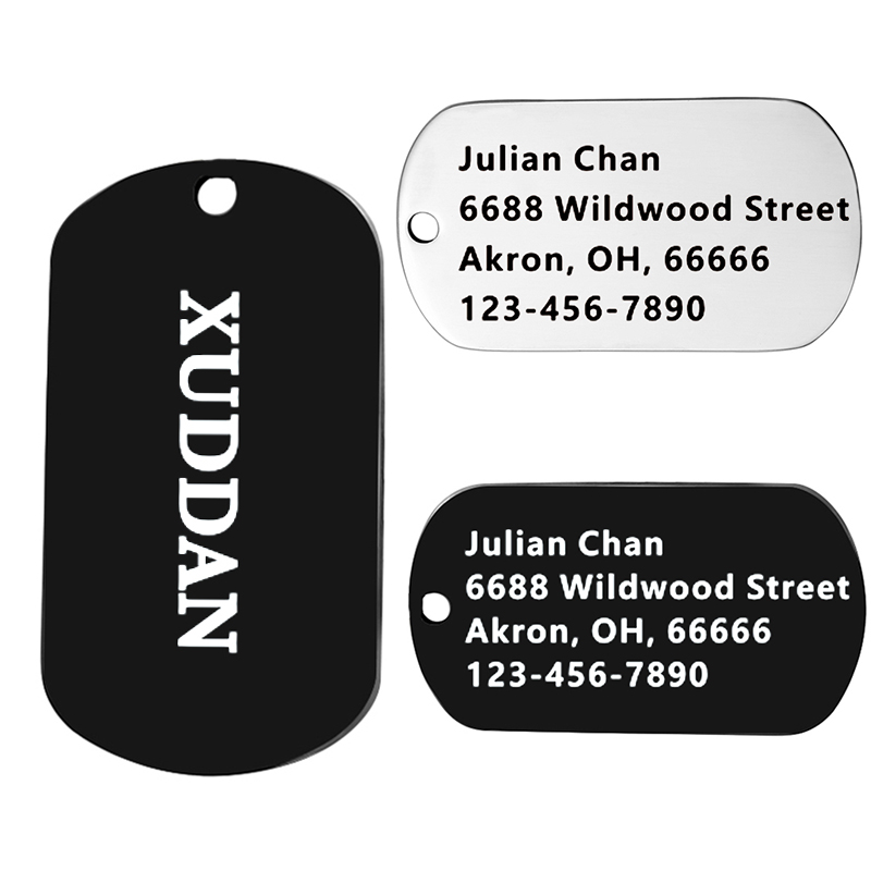 d110d805a474 US $3.12 30% OFF|Personalized Military Dog ID Tag Stainless Steel Dogs Tags  Custom ID Tag Free Engraved Pet Name Birthday Address Phone Number-in ...
