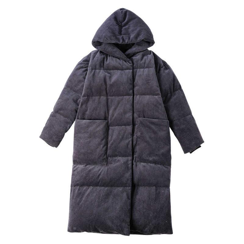 Зима Простой тип большой карман и с капюшоном толстый 90% белый утиный пух Женская длинная куртка повседневные теплые парки сюрприз или подарок для мамы