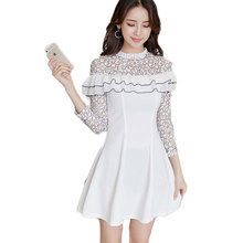 Spring Clothing Lace Dress Women White Vestido Sweet Girl Party Clothes Ruffles Mini Long Sleeve Lady Outfit ON SALE S-XL