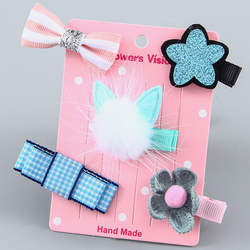5 шт. детские шпильки для волос заколки для волос Младенец, ткань лук цветок головные уборы заколки для волос головной убор аксессуары