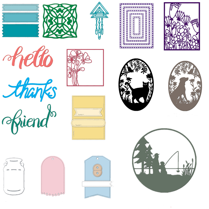 DreamCatcher Square Frame Label Tag Dialog Strip Words Cutting Dies Card Album Making DIY Craft Scrapbooking Template Die Cut