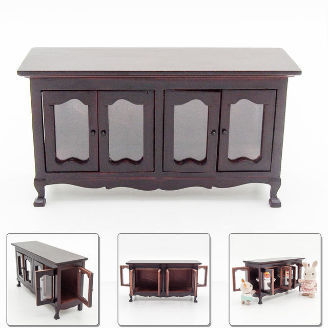 Hochwertig Odoria 1:12 Miniatur Vintage Holz Buffet Anrichte Schrank Puppenhaus Möbel  Zubehör Für Wohnzimmer Küche