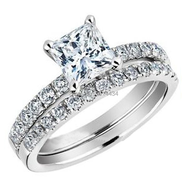 Size 5 11 Women Wedding Engagement Double Ring Band Set With Princess Cut Cubic Zircon