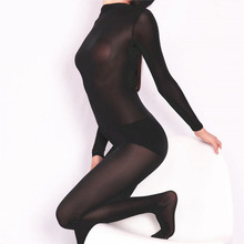 Plus Size Unisex One Piece Tights Half Coat Ice Silk Transparent Bodystocking Sexy Hot Erotic Linger