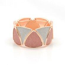 Сияющий серый розовое золото цвет сплав браслеты для женщин геометрический треугольник Сращивание широкий эластичный браслет подарочные браслеты и ювелирные изделия