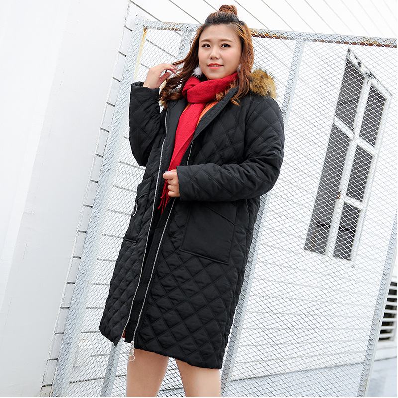 Autumn and winter cotton 300 pounds of fat mm code in the long section of loose thin ZIP HOODIE COAT JACKET 507 pregnant women coat autumn and winter cotton fashion long section slim was thin feather cotton clothing thickened cotton jacket