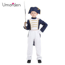 Umorden Fantasia Boys Napoleon Cosplay Costume Kids Children Spain United Kingdom Navy Uniform Halloween Purim Carnival Disfrace