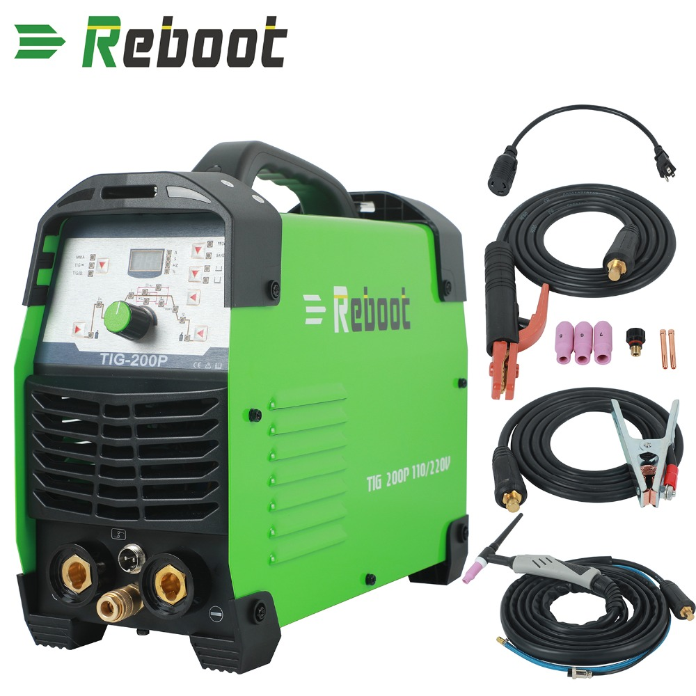 REBOOT TIG Welder Pulse Digital High Frequency 200A Inverter Dual Volt 110/220V TIG Welding Machine IGBT ARC Stick TIG