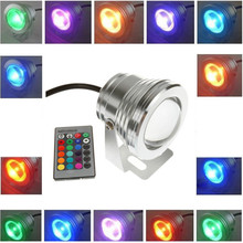 цена на Wholesale - price 10W 12v underwater RGB Led Light 1000LM Waterproof IP68 fountain pool Lamp 16 color change with IR Remote