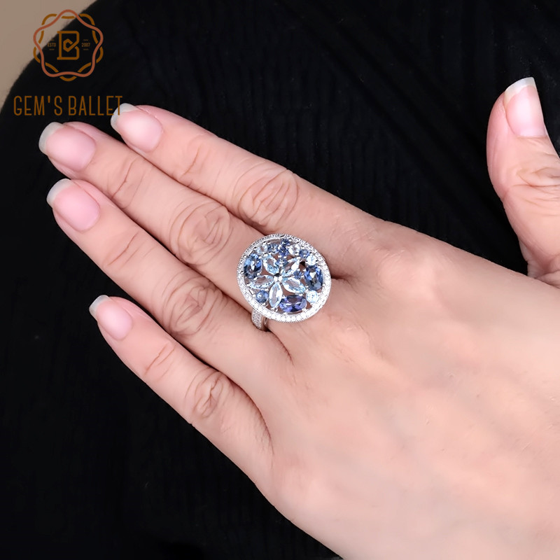 GEM S BALLET Natural Sky Blue Topaz Mystic Quartz Gemstone Round Cocktail Rings 925 Sterling Silver