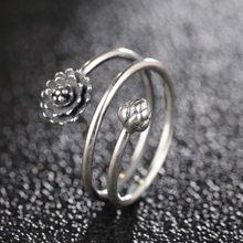 d9555a4dcdbc Plata de Ley 925 Lotus anillos de puño abierto para mujeres niñas 3D Multi-capa  flor anillo ajustable abierto joyería de fiesta .
