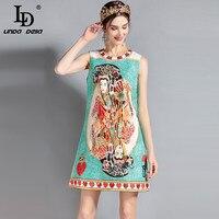 LD LINDA DELLA 2018 Fashion Runway Summer Dress Women S Sleeveless Beading Printed Straight Elegant Vintage
