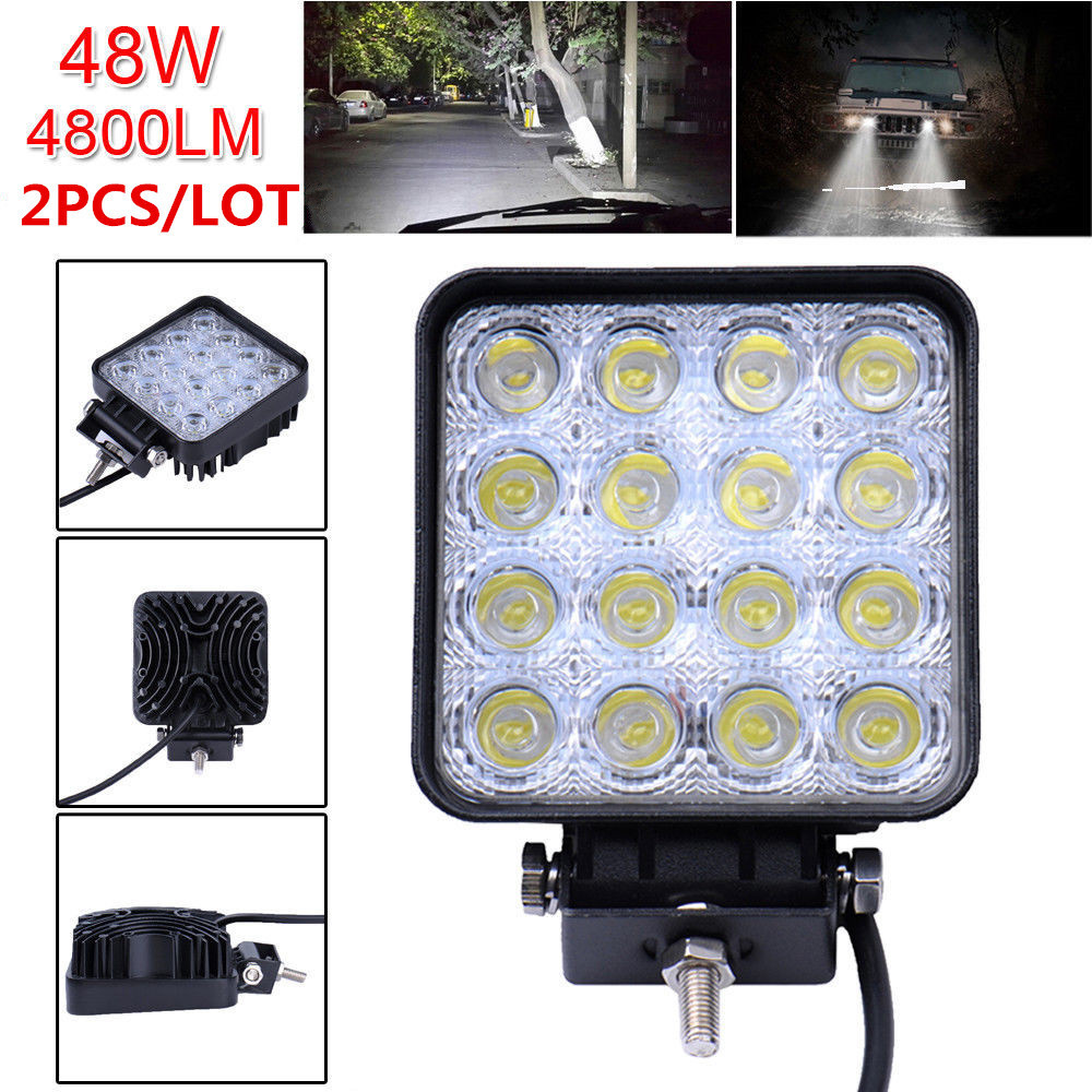 2Pcs/lot 4.2 Inch 48W 12V-24V LED Work Light Spot/Flood LED Offroad Fog Light Worklight for Off road ATV Motorcycle Car Truck 1pcs 120w 12 12v 24v led light bar spot flood combo beam led work light offroad led driving lamp for suv atv utv wagon 4wd 4x4