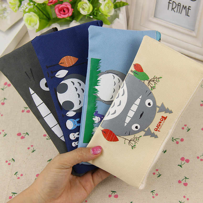 1PC Kawaii Fabric Pencil Bag for student Lovely Cartoon Totoro Pen Bags Makeup Pouch Escolar School Supplies