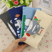 1PC Kawaii Fabric Pencil Bag for student Lovely Cartoon Totoro Pen Bags Makeup Pouch Escolar School Supplies(China)